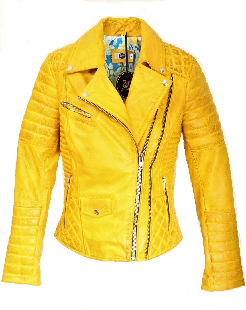 buy popular 60c15 5152c Giacca in pelle in vera pelle con trapuntatura gialla