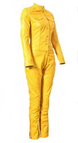 Jumpsuit Catsuit ECHTLEDER - USED LOOK - in gelb