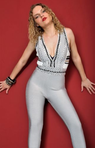 Jumpsuit / catsuit in silver gray with crystals and pearls