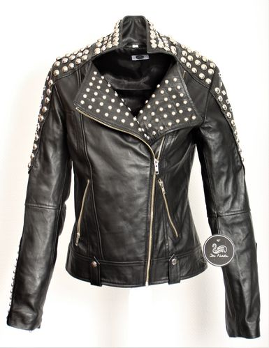 Leather Jacket - Biker Style with many Rivets in Black