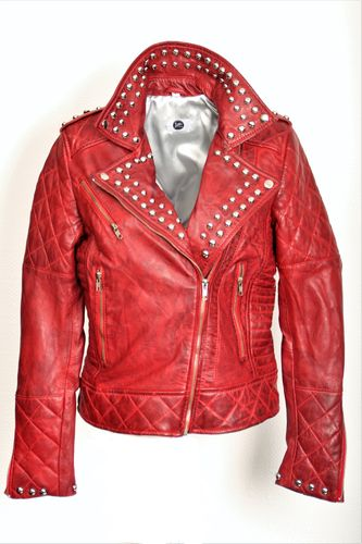 Leather Jacket in Biker Style in Red with Rivets