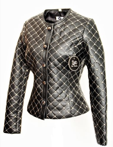 Elegant Leather Jacket in GENUINE LEATHER with Small Rivets