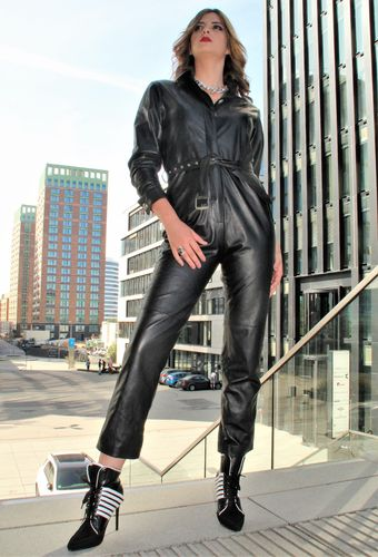 Leather Jumpsuit Leather Overall in elegant black