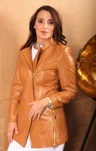 GENUINE Leather Jacket as a long Jacket in Cognac