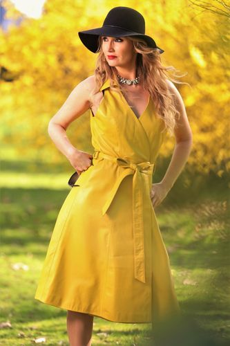 Leather dress as wrap dress in GENUINE LEATHER in yellow