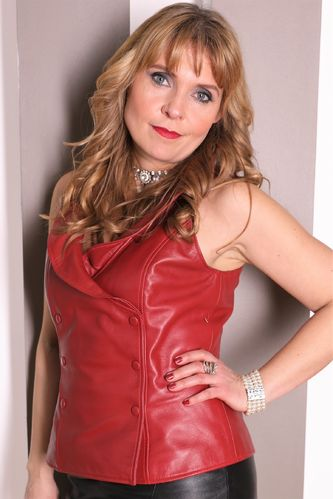 GENUINE Leather Vest / Top with Collar in Red
