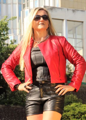 Leather Jacket GENUINE LEATHER - Bikerstyle RED