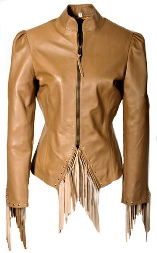 Leather Jacket with Fringes and Rivets made of Lamb Nappa