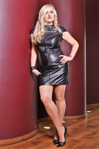 Leather Dress in GENUINE Leather in classic black