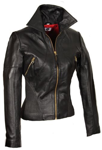 GENUINE Leather Jacket with Stretch Waist in Black