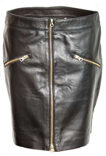 Skirt in GENUINE LEATHER with many Zippers in Black