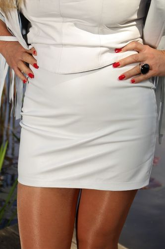 Leather Skirt in GENUINE Leather as Mini Skirt in white