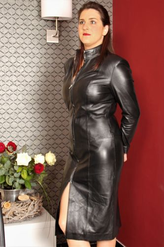 Leather Coat Leather Dress in GENUINE LEATHER with Zipper
