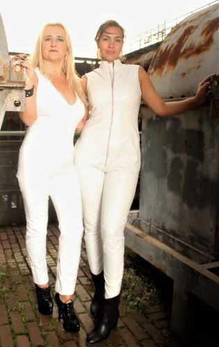 Jumpsuit Catsuit GENUINE LEATHER in Black and White