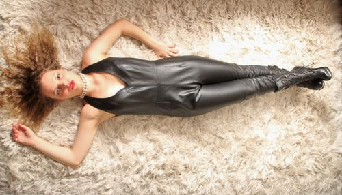 Jumpsuit Catsuit GENUINE LEATHER in Black