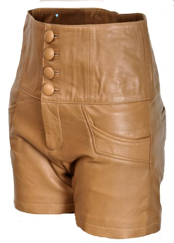 Leder-Short - ECHT-LEDER Leder-Hot-Pants in beige