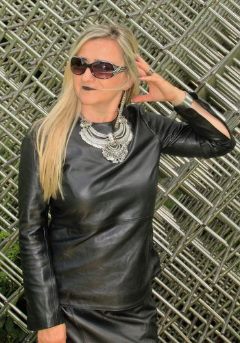 Leather Shirt / Sweater Made of GENUINE Leather in Black