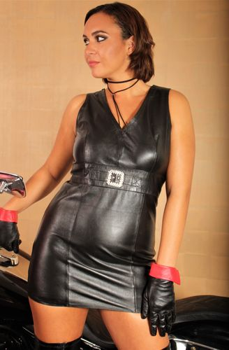 Leather Dress in elegant black GENUINE LEATHER
