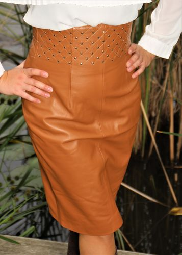 GENUINE Leather High Waisted Skirt in Cognac