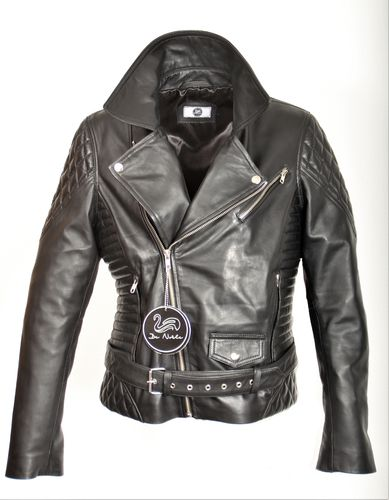 Leather Biker Jacket in GENUINE LEATHER With Belt