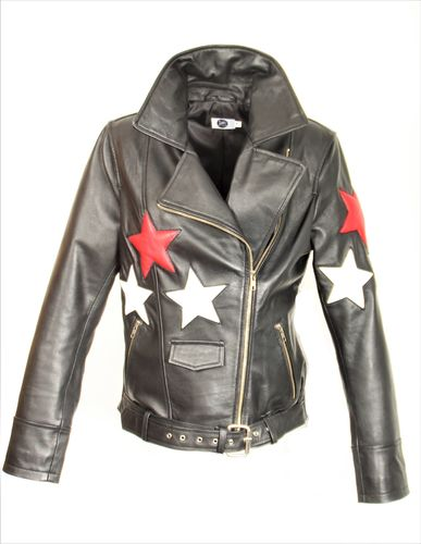 Genuine Leather Biker Style with Stars
