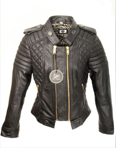 GENUINE Leather Jacket With Leo Print Lining