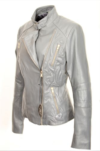 Elegant Leather Jacket GENUINE LEATHER Design Sylt- Grey
