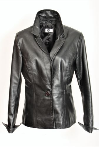 Leather Blazer in the BE NOBLE Business Style in Black