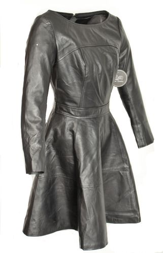 A-Style Dress in Genuine Leather in Black