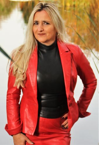 Leather Blazer in the BE NOBLE Business Style - Red