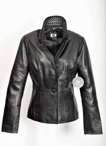 GENUINE LEATHER Blazer in Classy Business Style Black