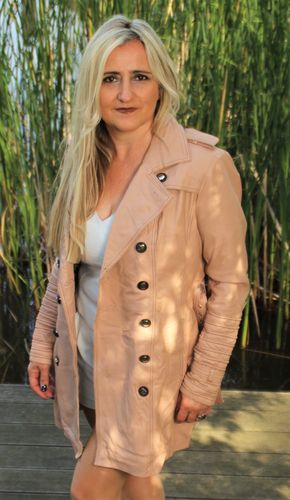 Trench Coat as Genuine LEATHER Leather Coat in Beige