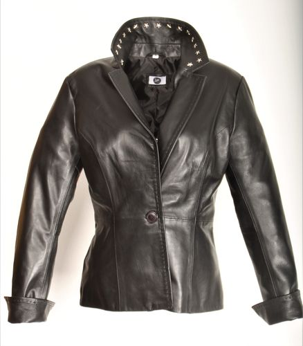 GENUINE LEATHER Blazer Jacket with Star Rivets