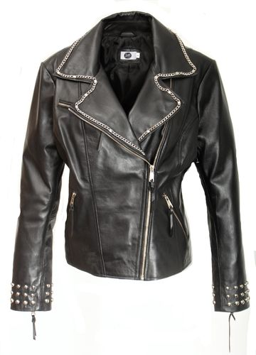 GENUINE LEATHER Biker Jacket with Rivets and Chains