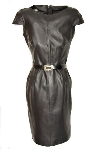 Leather Dress in GENUINE Leather in elegant knee-length