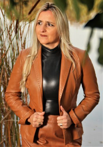 Leather Jacket - Leather Blazer GENUINE LEATHER Cognac