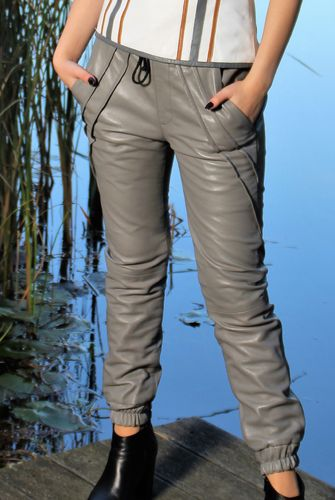 Leather Pants Noble Style Jogging Trousers in REAL-LEATHER gray