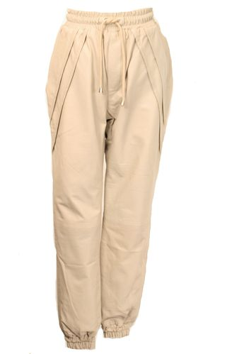 Leather Pants - Noble Style Jogging Pants in REAL LEATHER sand
