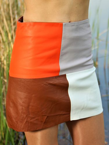 Leather Skirt Made of GENUINE Leather A-Line in Colorful