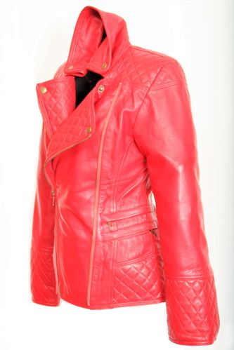 Biker Jacket in GENUINE LEATHER  in Red