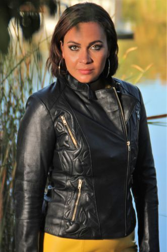 Leather Biker Jacket in GENUINE LEATHER Elegant Design