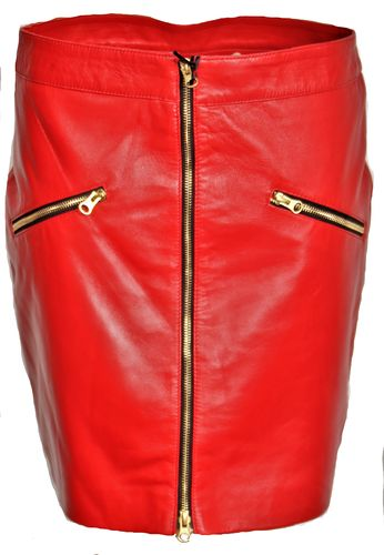Leather Skirt Made of Genuine Leather with Zippers in RED