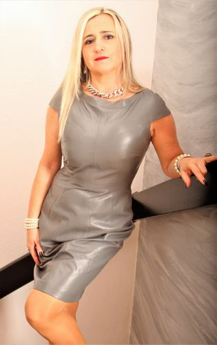 GENUINE Leather Dress elegant knee-length in grey