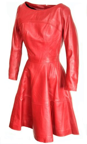 Leather A-Style Dress GENUINE LEATHER in dark red