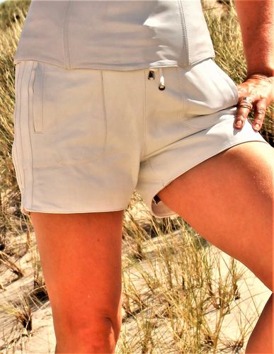Leather Sports Shorts Made of GENUINE Leather in white