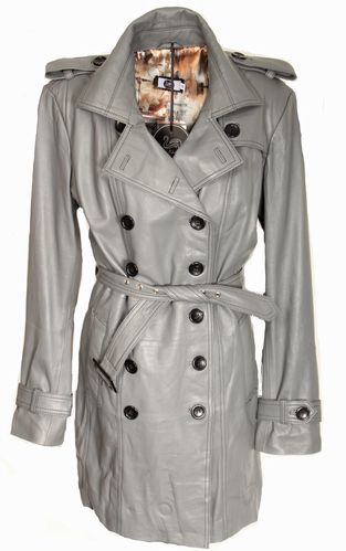 Trench Coat as GENUINE LEATHER Coat in Gray