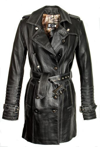 Trench Coat GENUINE LEATHER Coat in black and gray