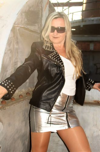 Leather Jacket in GENUINE LEATHER with Rivets - Chains