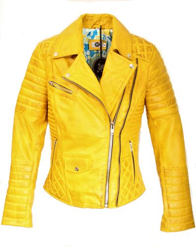 GENUINE Leather Jacket with Quilting Yellow for Women