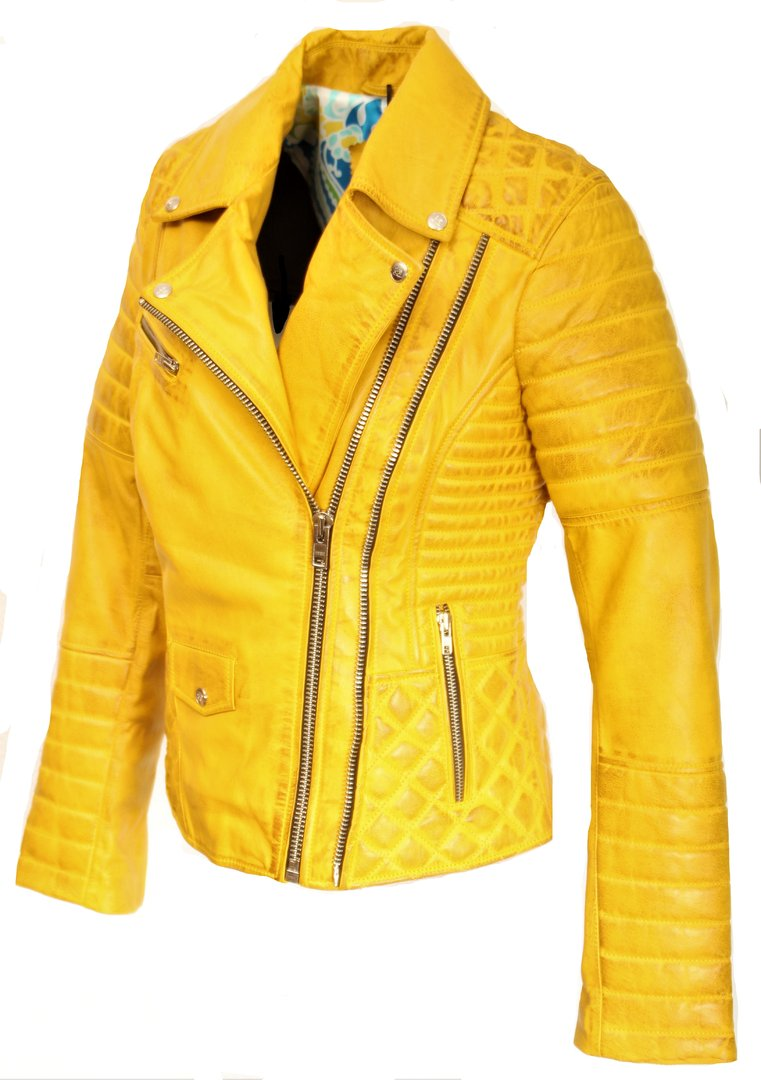 BE in NOBLE gelb Lederjacke mit aus ECHT Leder Steppung QxWrBoedCE